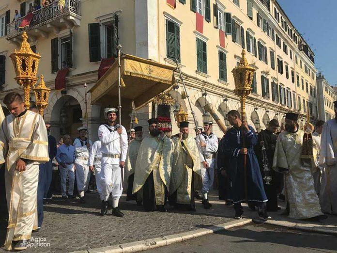 Η λιτάνευση του Ιερού Σκηνώματος του Αγίου Σπυρίδωνος της 11ης Αυγούστου