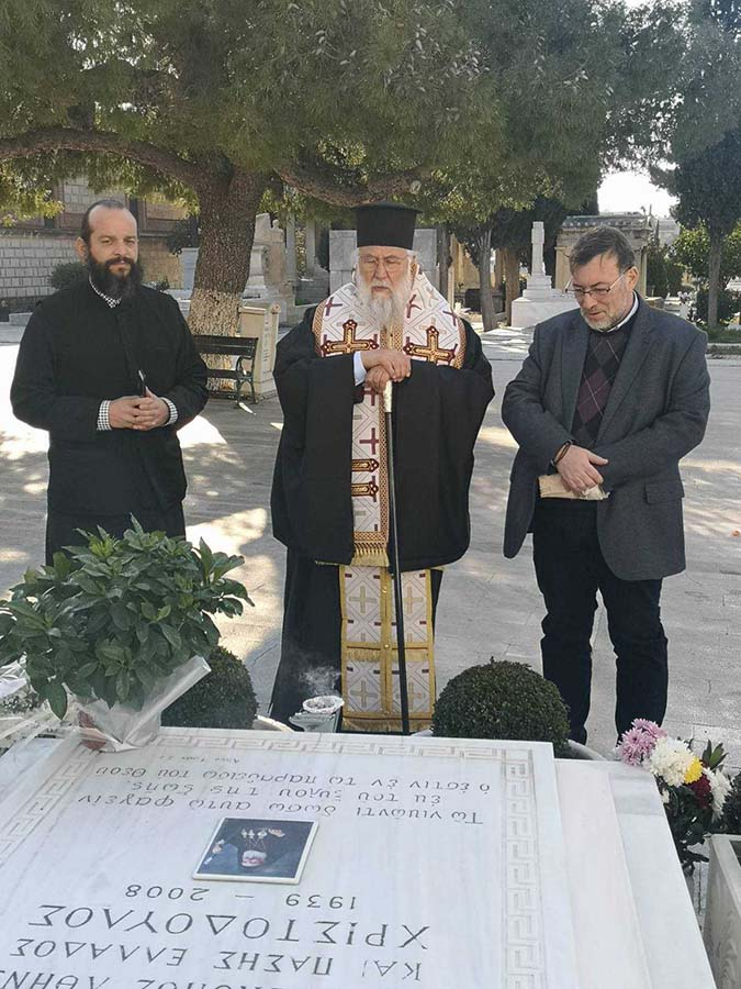 Photo of THE BISHOP OF CORFU, MR. NEKTARIOS DID THE MEMORIAL SERVICE IN THE GRAVE OF THE LATE ARCHBISHOP CHRISTODOULOS